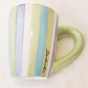 Starbucks 2002 striped coffee mug blue green white